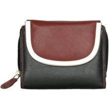 Černo tmavě kožená kompaktní peněženka červená