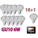 Ledlux LED žárovka GU10 6 W 500 L 230 V tepla bílá 10+1