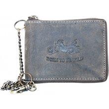 Born to be Wild Šedá kožená peněženka s motorkou dokola na zip, s řetězem a karabinkou