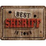 Postershop Plechová cedule: Best Sheriff in Town - 15x20 cm