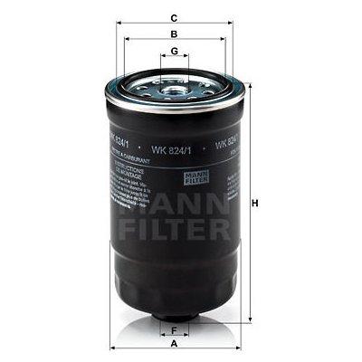 palivovy filtr MANN-FILTER WK 824/1 MF WK824/1