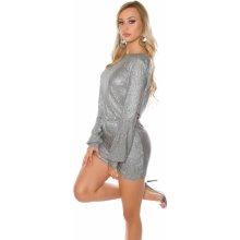 f0e55e4acc83 KouCla dámské párty šaty s výstřihem na zádech stříbrná