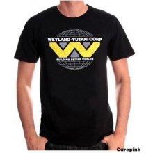 CurePink Pánské tričko Alien Vetřelec  Weyland Yutani černá bavlna   TS003ALI  25745aaede