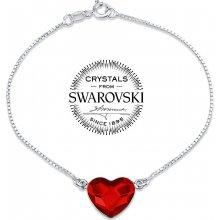 Silvego stříbrný náramek se Swarovski Crystals srdce červené VSW063B