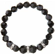 Evolution Group stříbrný náramek se Swarovski krystaly černý 33056.3