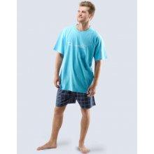 Gina pánské pyžamo krátké s potiskem tm. tyrkysová lékořice