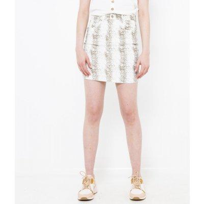 Camaieu vzorovaná pouzdrová sukně bílá