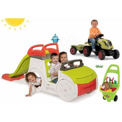 Smoby set prolézačka Adventure Car traktor Claas GM a Ecoiffier vozík Piknik