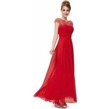 Dlouhé šaty na ples svatbu s rukávkem červená 61608bbd59