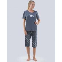 5c50ba056f81 Gina 19070P dámské pyžamo 3 4 kalhoty s potiskem tm. šedá bílá
