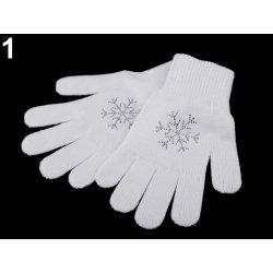 a3f2fa4b94e Capu dámské pletené rukavice vločka s kamínky bílá alternativy ...