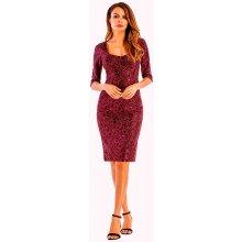 54cb3b85dce2 Elegantní pouzdrové šaty midi 82252120-4 krajka červená černá