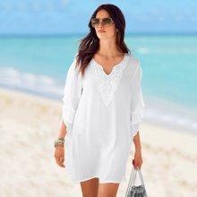Blancheporte Macramé plážová tunika bílá