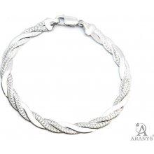 Aranys stříbrný náramek copánek 2840