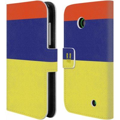 Pouzdro HEAD CASE Nokia LUMIA 630/630 DUAL barevné tvary žluté, modrá, červená