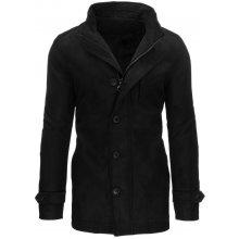 Pánský černý kabát zimní s kapsičkou na hrudi