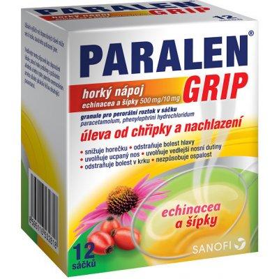 Paralen Grip Horký nápoj echinacea a šípky 500 mg/10 mg por.gra.sol.scc.12