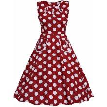 Dámské Retro šaty s puntíky červená 6dc2ca0193