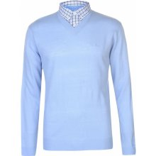 Pierre Cardin Mock V Neck Jumper Mens Sky