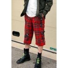 Punkové kraťasy pánské červený tartan