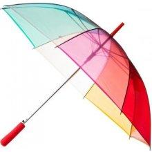 Dámský průhledný duhový deštník CLEAR RAINBOW červená rukojeť