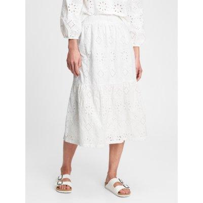 Eyelet midi sk sukně bílá
