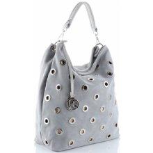 Vittoria Gotti Italská kožená kabelka světle šedá f4b5fd9151