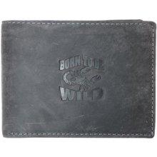 Born to be wild šedá kožená peněženka se škorpionem