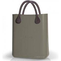Kabelka O bag šedé kabelka O Chic Rock s hnědými krátkými koženkovými  držadly 2a36df45cf8