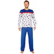 568606f62ef7 Evona Hokej pánské pyžamo dlouhé červeno modro šedé