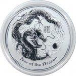 Lunární Stříbrná investiční mince Year of the Dragon Rok Draka 1 2 Oz 2012