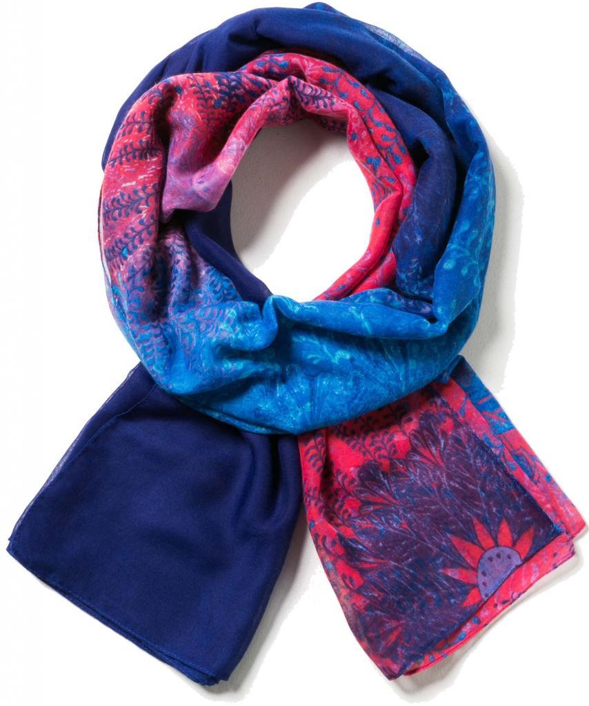 df71c4c6903 Desigual modrý šátek Carlin s červenými detaily alternativy - Heureka.cz