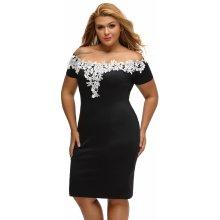 106f5763e679 Dámské šaty s háčkovanou krajkou pro plnoštíhlé černá