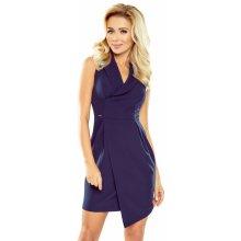 158e4e41de70 Dámské společenské šaty s límečkem a překříženou sukní tmavě modrá