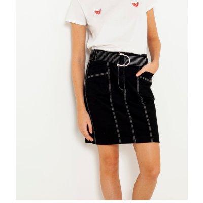 Camaieu sukně s kontrastním prošíváním černá