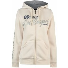 Lee Cooper Long Line Zip Hoodie Ladies Ecru Glitter dbfdbfae7c