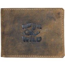 Born to be wild kožená peněženka z pevné kůže se škorpionem
