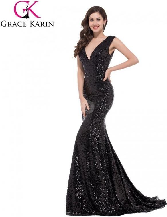 Grace Karin Flitrované černé plesové šaty s vlečkou CL6052-2 Černá  alternativy - Heureka.cz a9b0ba6595