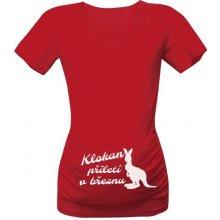 T-shock tričko s potiskem klokan přiletí v březnu červená