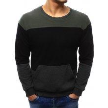 Pánský svetr s kapsou (wx1033) khaki-černý