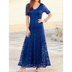 d7bfb47a32b Dámské dlouhé krajkové plesové a společenské šaty modrá alternativy ...