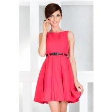 Dámské elegantní společenské šaty bez rukávu s páskem korálové 87e4cf3eb9