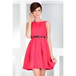 Dámské elegantní společenské šaty bez rukávu s páskem Korálová NMC 6 ... c82df361a51