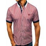 Vínová pánská elegantní kostkovaná košile s krátkým rukávem Bolf 4501 1dc725048c