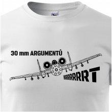 Bezvatriko.cz 0308 Pánské tričko A-10 30 mm argumentů Bílá