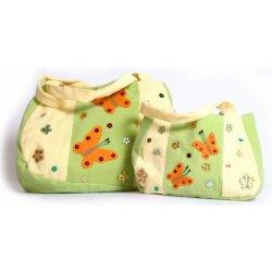 Školní batoh Kabelka zelená s motýlky 2 ks