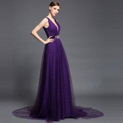 Dorisqueen elegantní dlouhé šifonové šaty s vlečkou DQ1513 tmavě fialová 0ba621a07f