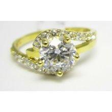 24c33a6a3 Zásnubní prsten ze žlutého zlata s velikým zirkonem