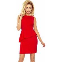Numoco dámské společenské peplum šaty bez rukávů červená eeb5fd356f