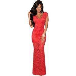 d88c6f06c7b5 Dlouhé krajkové společenské šaty s průhlednou spodní částí – červené 6022